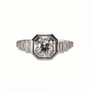 Sarah Art-Deco Engagement Ring Custom Made Top View