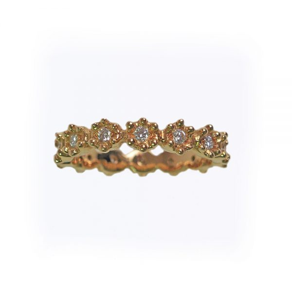 Yellow Gold Britt Flower Band with Diamonds side view