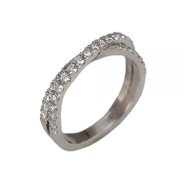 Audra Criss Cross Diamond Wedding Ring Side View