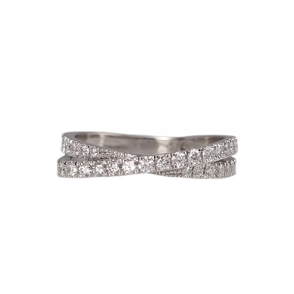 Audra Criss Cross Diamond Wedding Ring Top View