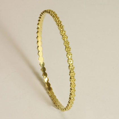 Britt Flower Gold Bangle in 18K Yellow Solid Gold