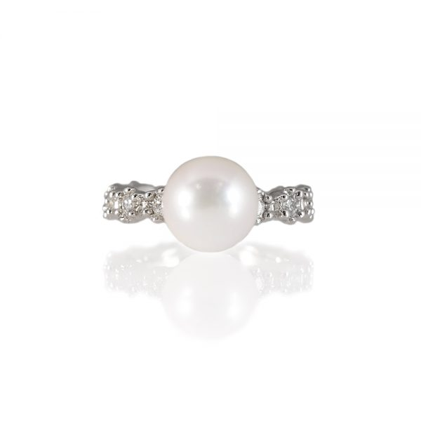Britt Flower Pearl Ring in 14K White Gold-0