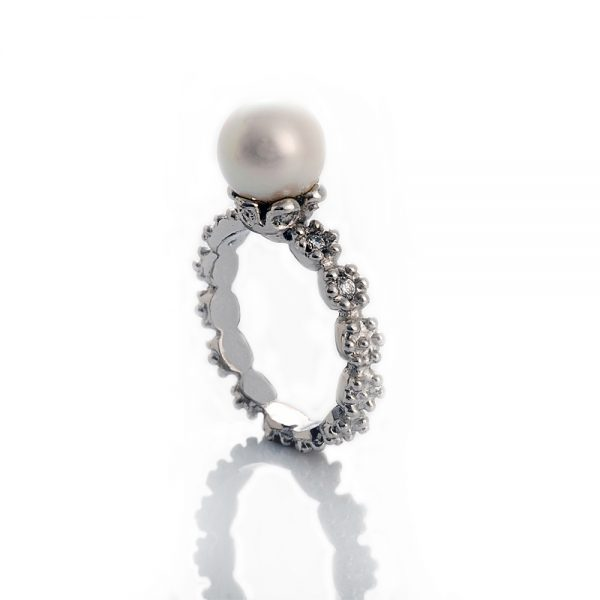 Britt Flower Pearl Ring in 14K White Gold-1454