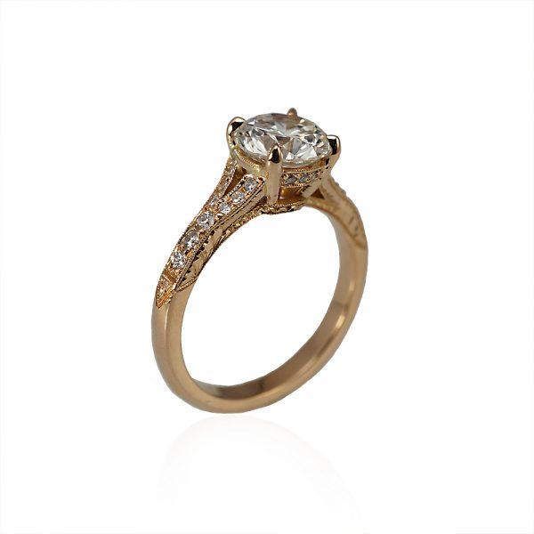 Elizabeth Custom Engagement Ring Threequarter View