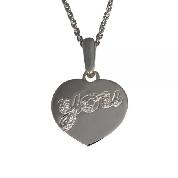 Love you, Big silver and diamond pendant