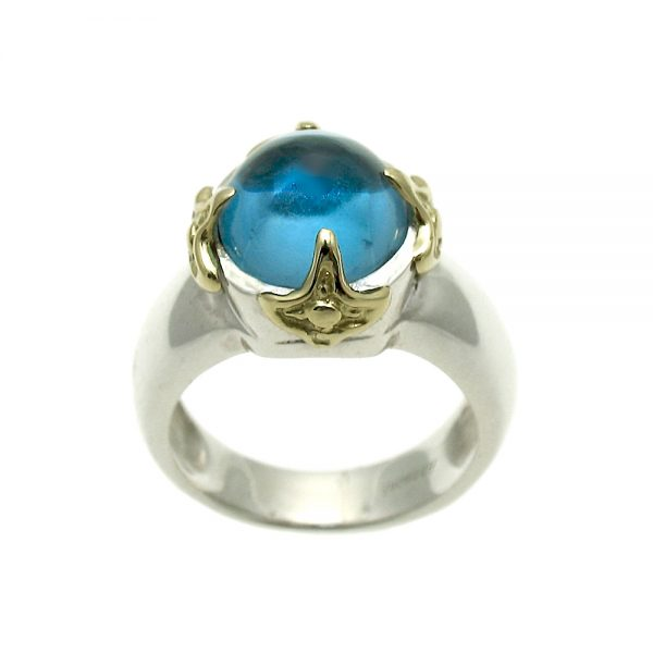 LUV Moods Blue Topaz Cabochon Ring Side View