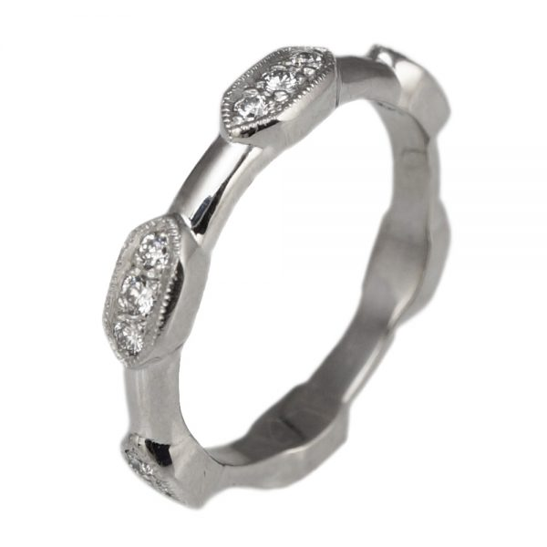 Sarah Diamond Station Wedding Ring Side View