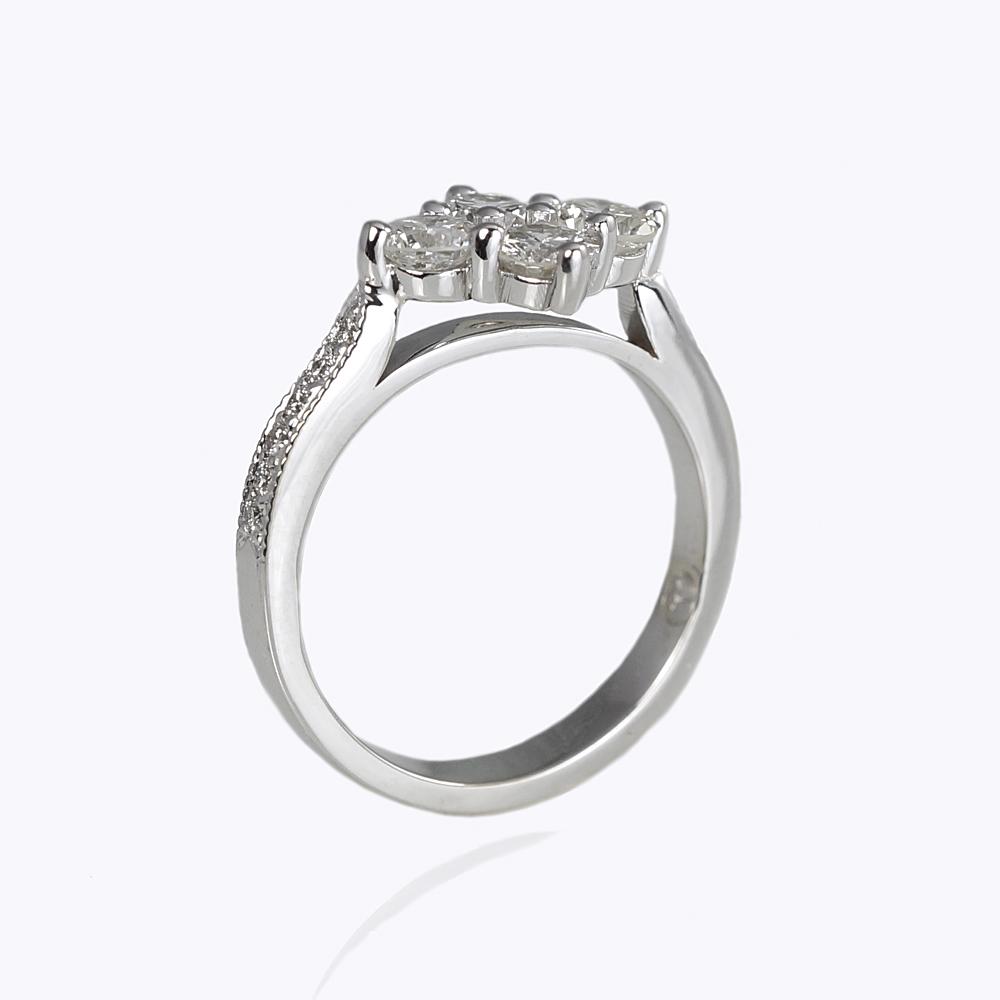 Angela Four Stone Custom Made Diamond Ring Side View