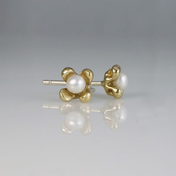 Britt Mini Flower Studs with Pearl in Bronze Side View