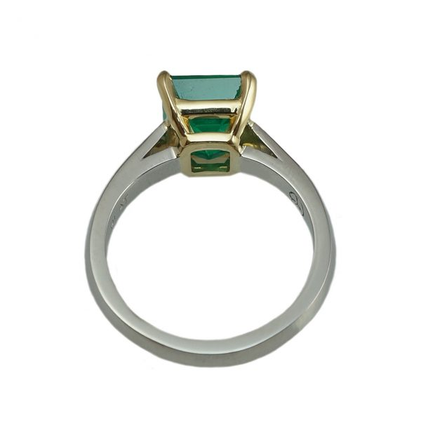 Jayne Emerald Solitaire engagement ring in platinum and yellow gold