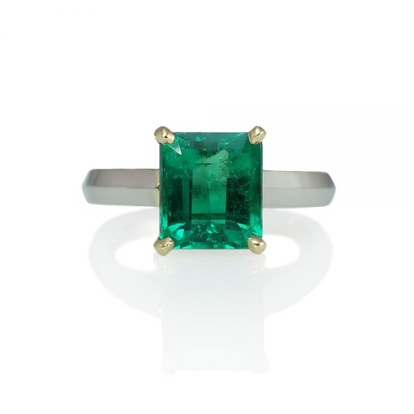 Jayne Emerald Engagement Ring Side View