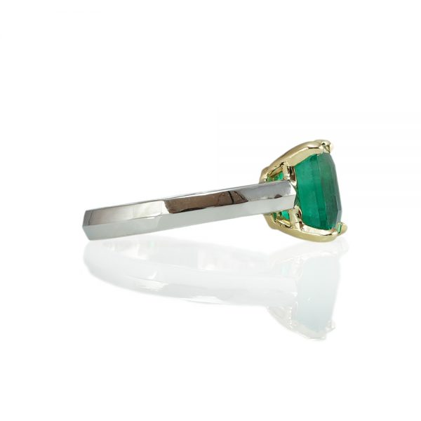 Jayne Emerald Solitaire Engagement Ring Side View