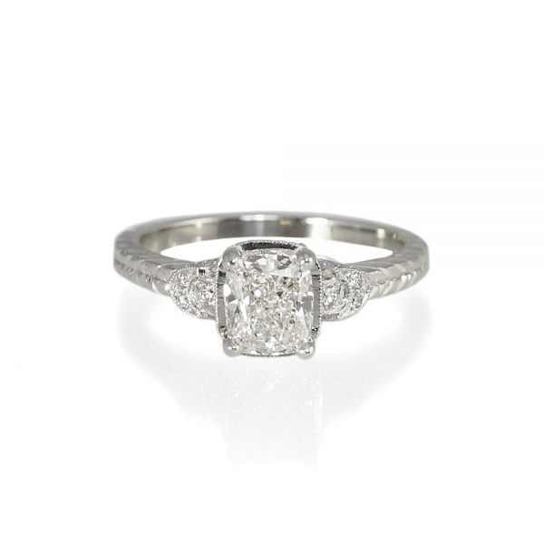 Lauren Vintage Inspired Diamond Engagement Ring Top View