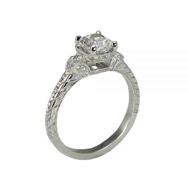Lauren Cushion Cut Vintage Inspired Engagement Ring Side View