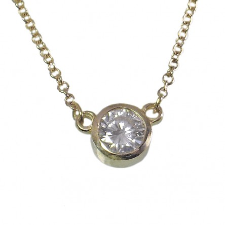 Solitaire Diamond Pendant on 14K Yellow Gold Chain