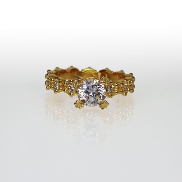 Yellow Gold Britt Flower Custom Engagement Ring