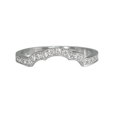 custom made scalloped diamond wedding ring to fit the enagegement ring