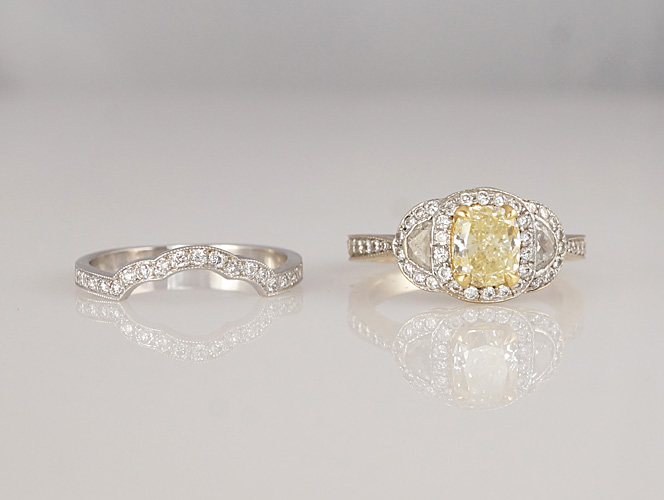 Custom made scalloped engagement ring and matching wedding ring designed, Boston, MA