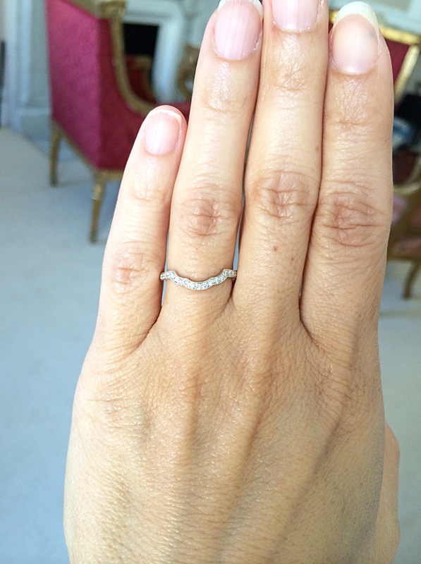 Custom Made Scalloped Diamond Wedding Ring to Match the Engagement Ring, Boston, MA