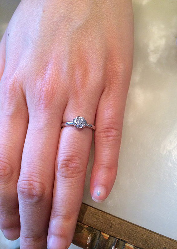 Custom Made Solitaire Floral Engagement Ring, Boston, MA