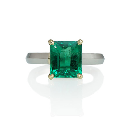 Custom Made Colombian Emerald solitaire engagement ring, Boston MA