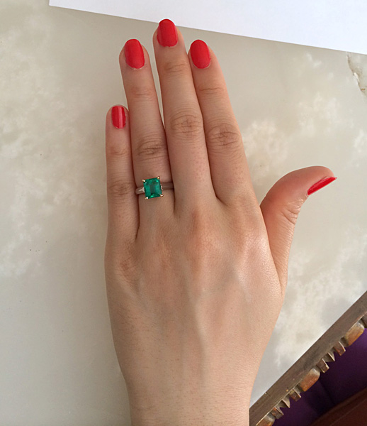 Custom made emerald solitaire engagement ring by Cynthia Britt