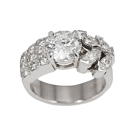 Custom made right hand diamond ring