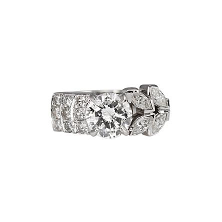 Custom Made Right Hand Unique Diamond Engagement Ring