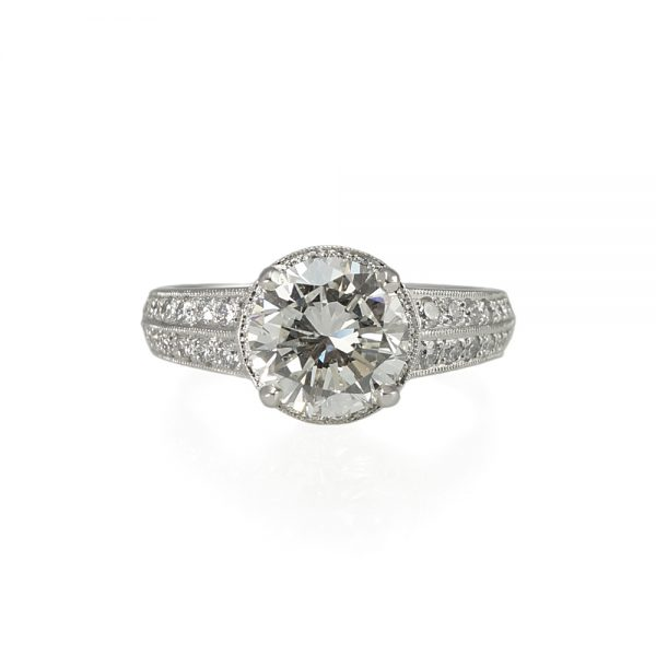 Bella Halo and Crown Platinum Engagement Ring Top View