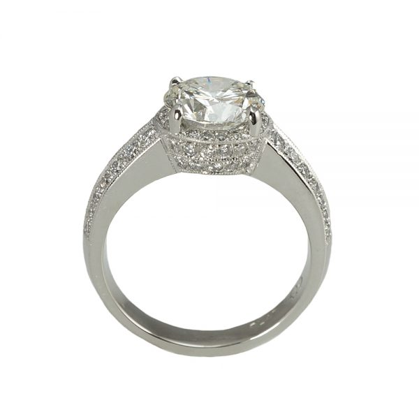 Bella Halo and Crown Platinum Engagement Ring Side View