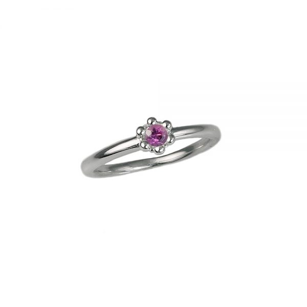 Rhodalite Garnet Signature Flower Bead Ring Side View