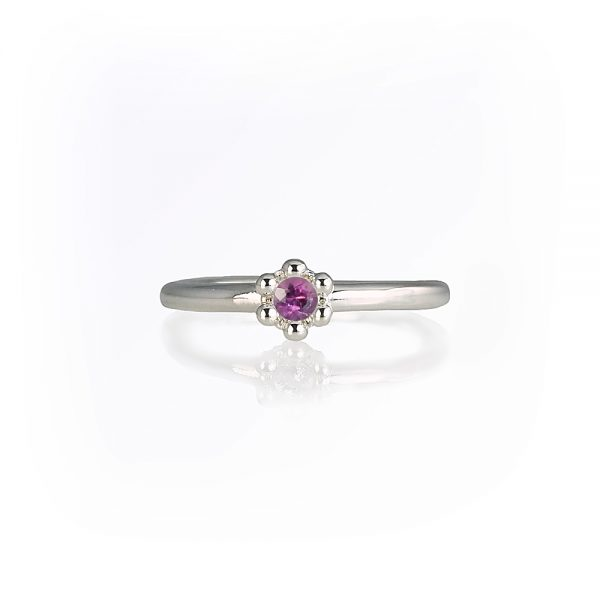 Rhodalite Garnet Signature Flower Bead Ring