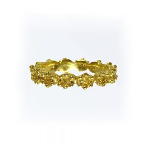 Yellow Gold Britt Flower Band side view