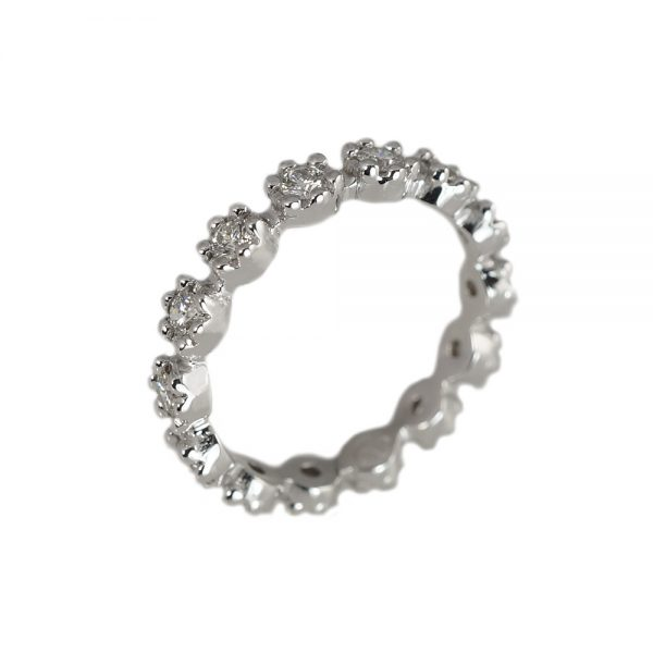 White Gold Britt Flower Eternity Band-1438