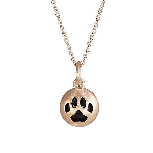 Custom Made Paw Print Rose Gold and Black Onyx Pendant