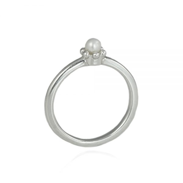 Pearl Signature Flower Bead Ring Side View