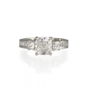 Rachel Three Stone Cushion Cut Diamond Engagement Ring