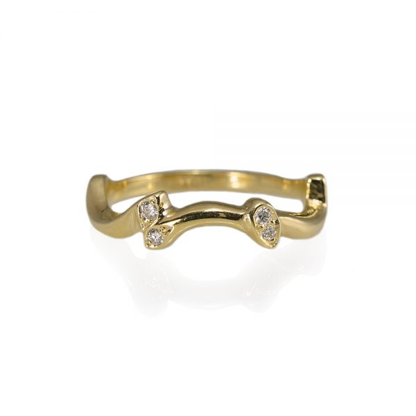 Susan Yellow Gold And Diamond Rose Branch Ring