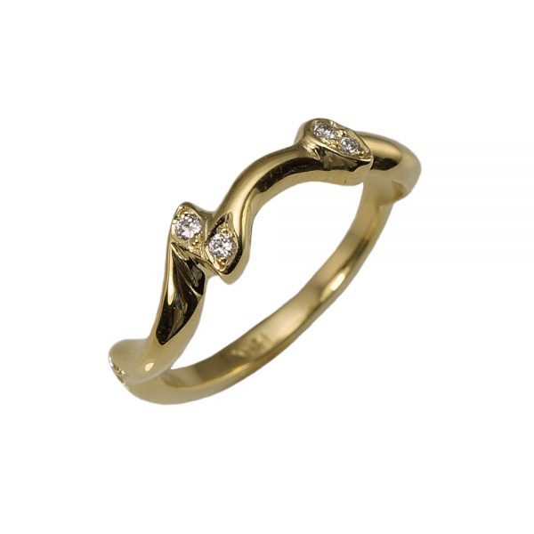 Susan Yellow Gold and Diamond Rose Branch Ring Side