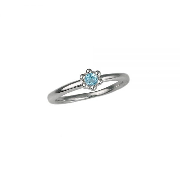 Blue Topaz Signature Flower Bead Ring Side View