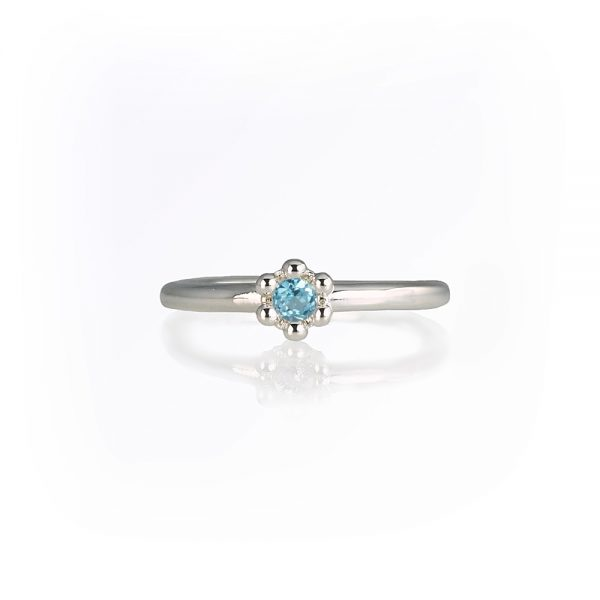 Blue Topaz Signature Flower Bead Ring