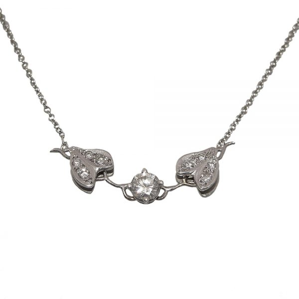 Diamond Vine Necklace in 14k White Gold