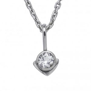 Mini Kiss Pendant in 14k White Gold