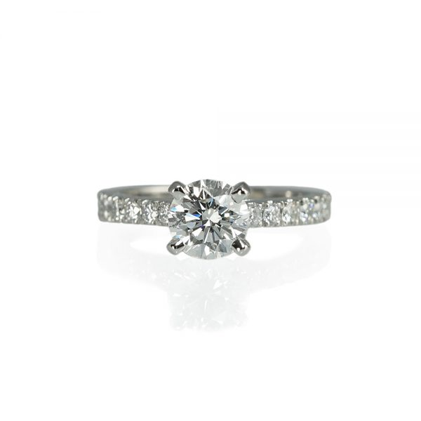 Nikki Solitaire Engagement Ring with Diamond Band