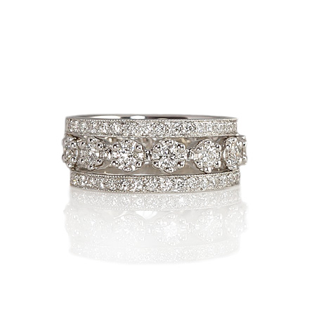 Custom made Stacked White Gold and Diamond Wedding Rings