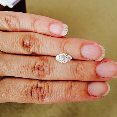 cushion cut diamond with half moon cut diamonds