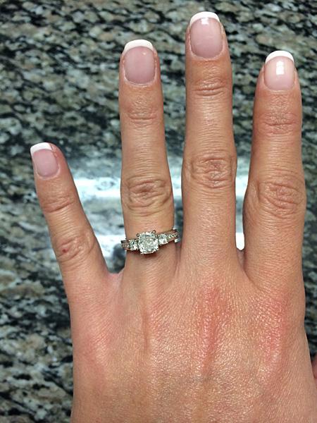 custom made platinum three stone engagement ring