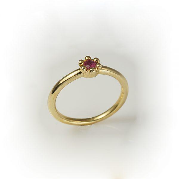 Britt Single Flower Pink Sapphire Ring in Bronze Side View