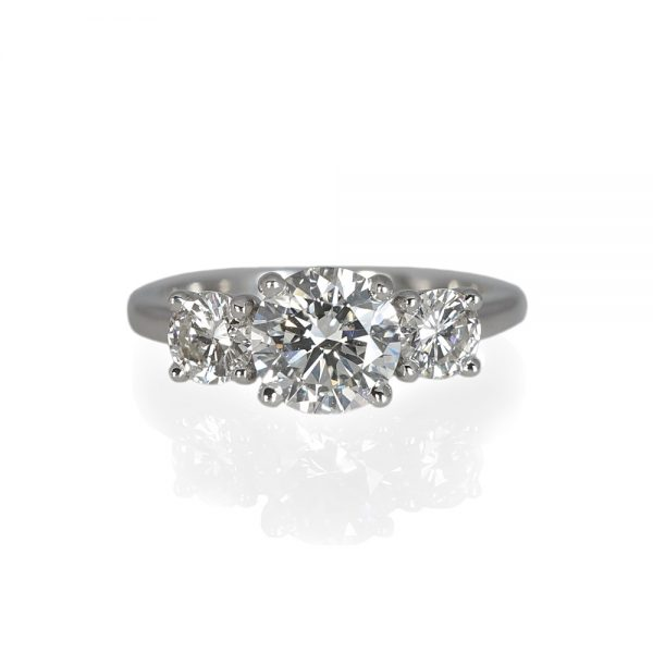 Kelsey Three Stone Platinum Engagement Ring-0