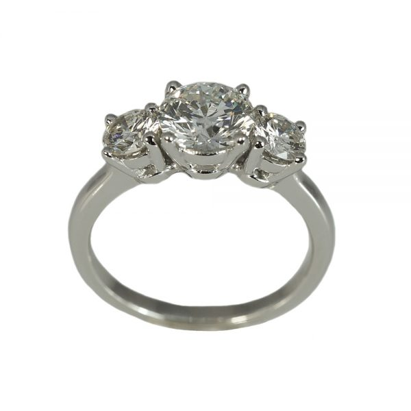 Kelsey Three Stone Platinum Engagement Ring-1410